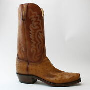 Lucchese Dante Ostrich Round Toe Mens Western Cowboy Dress Boots  - Size 9
