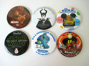 Disney Movie Button Pinback Star Wars Incredibles 2 Monsters University Lot Of 6