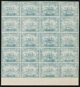 Egypt Suez Canal Company 1868 Ship 20c Mnh Block. Genuine With Certificate.