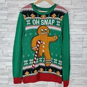 Ugly Christmas Sweater Jumper Size Small Red/green Grumpy Gingerbread Men