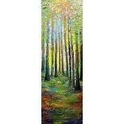 Sunrise Forest Colors Summer To Fall Narrow Vertical Canvas Original Painting