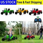 12v Kids Ride On Toy Electric Tractor Trailer Truck Car Led Light Remote Control