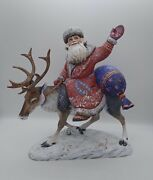 Wooden Carved Reindeer Santa Claus Hand Carved Painted Christmas Decoration