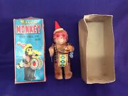 Vintage Made In Japan Wind Up Musical Monkey Toy Original Box Works Well 1950