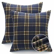 Farmhouse Pillow Covers Pack Of 2 Buffalo Plaid Decorative 18and039and039x18and039and039 Blue