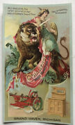 Antique Wood Ice Box 1892 Grand Haven Mich Challenge Corn Planter Old Trade Card