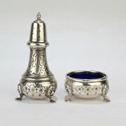 Vintage American Sterling Silver Open Salt And Pepper Shaker Set By B And M - Sl
