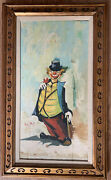 Vintage Clown Painting Signed Avgng Gold Wood Frame 18andrdquox30andrdquo
