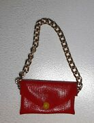 Vintage Barbie Clone Red Purse With Chain Yellow Bead Snap Dawn Doll Rock Flower