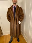 Size 36r 44 Mens Light Brown Mink Real Fur Extra Small Over Top Coat Shawl Usa