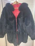 Stunning Red Leather Hooded Fur-lined Reversible Womenand039s Jacket 2xl Mittens