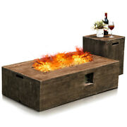 48x27 50,000 Btu Propane Fire Pit Table Set W/ Side Table Tank Storage And Cover