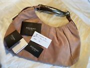Yves Saint Laurent Pink Suede Mombasa Bag With Silver And Horn Handle