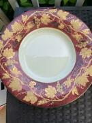 Crate And Barrel Volante 16 Platter Shallow Bowl Nwt Made Italy Burgundy Gold