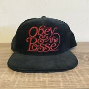 New Sample Obey And The Posse Black Red Micro Corduroy Snapback Flat Bill Hat