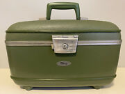 Vintage Green Fliteway Overnight Hard Train Case With Mirror 14andrdquo Beautiful Cond