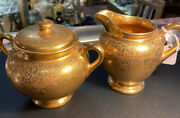 Antique Wheeling Gold China, Cream And Suger Great Condition
