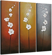 Wieco Art 3 Piece White Flowers Oil Paintings On Canvas Wall Art For Living Room