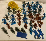 Vintage Mpc Ring Hand Frontier Soldiers Civil War With Wagon Lot Of 42 Figures