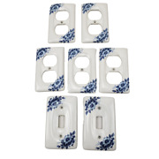 Set Of 7 Blue Floral Wall Plates Ceramic Outlet Covers 2 Light Switch 5 Outlet