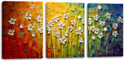 3 Panels Flowers Beautiful Colorful Oil Paintings On Canvas Abstract Art Texture