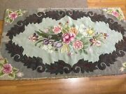 Beautiful Floral Antique Vintage Hand Hooked Wool Rug 3andrsquo By 5andrsquo