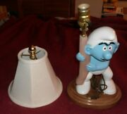 Vintage Smurf Table Lamp With Shade Ceramic Mold Painted - Room