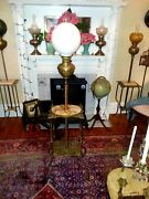 Antique / Victorian Brass And Onyx Piano Floor Oil Lamp Electrified