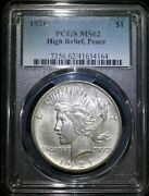 1921 Peace Silver Dollar Pcgs Ms62 High Relief Key Date White Coin
