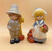 Vintage Ceramic Hand Painted Pilgrim Boy And Girl Figurines Thanksgiving 6tall