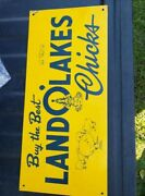 Vintage Very Rare Land O Lakes Chicks Sign 50and039s 60and039s Earlier Butter Milk Feed