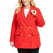 Inc Womens Plus Size Shawl Collar Lined Double-breasted Blazer Jacket Red