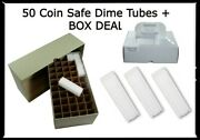 50 Square Coin Safe Snap-tite Dime Tubes + Green Quality Storage Box Deal New