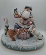 Exclusive Carved Wooden Christmas Winter Composite Santa With Animals