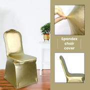 Shiny Gold Spandex Chair Covers Slip Seat Cover Stretch Removable Wedding Party