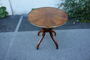 Regency Style Rosewood Book Matched Round Center Accent Table