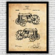 Farmhouse Riding Tractor 1919 Ford Vintage Patent Art Print, Size Frame Options