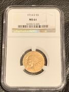 1914-d Indian Head Half Eagle 5 Gold Ngc Ms61