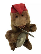 Vintage Wind Up Monkey Playing Cymbal Tin Toy Japan - Excellent Condition