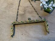 Antique Vintage Gold Tone Purse Evening Bag Frame With Green And Clear Stones
