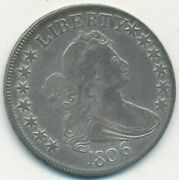 1806 Draped Bust Silver Half Dollar-pointed 6 With Stem-nice Coin Ships Free