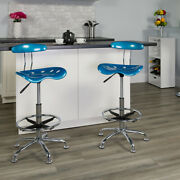 Vibrant Bright Blue And Chrome Drafting Stool With Tractor Seat