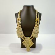 Large Southwestern Gaspeite And Silver Chunky Necklace - Sl
