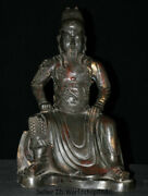 17.6antique Old Chinese Bronze Seat Guan Gong Yu Warrior God Dragon Robe Statue