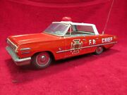 1963 Chevrolet Impala Fire Chief Car Pressed Tin Lithograph Japanese Toy