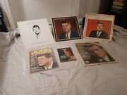 Rare Lot Of 6 Jfk And Other Kennedy Memorabilia Collectibles - Records/magazines