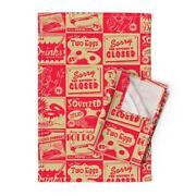 Vintage Kitchen Ads Food Red Kitsch Linen Cotton Tea Towels By Roostery Set Of 2