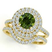 1.5 Carat Green Diamond Double Halo Engagement Fancy Band Ring 14k Yellow Gold