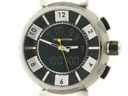 Louis Vuitton Tambour In Black Q118f1 Used Watch Blk Dial Ss Rubber Belt Ec