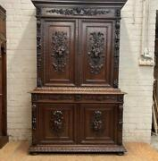 Carved Oak Antique French Hunt 1880and039s Sideboard - Dh11